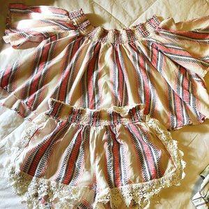 Ladies Size M. Coastal  shorts and crop top set